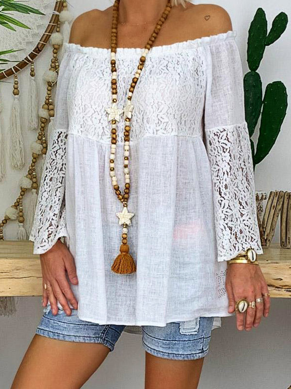 Summer Women 3/4 Sleeve Round Neck Solid Color One Shoulder Embroidery Blouse