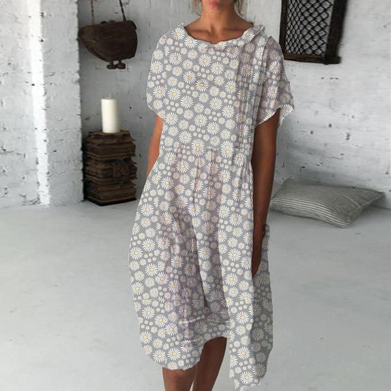 Simple Round Neck Short Sleeve Printed Midi Dress