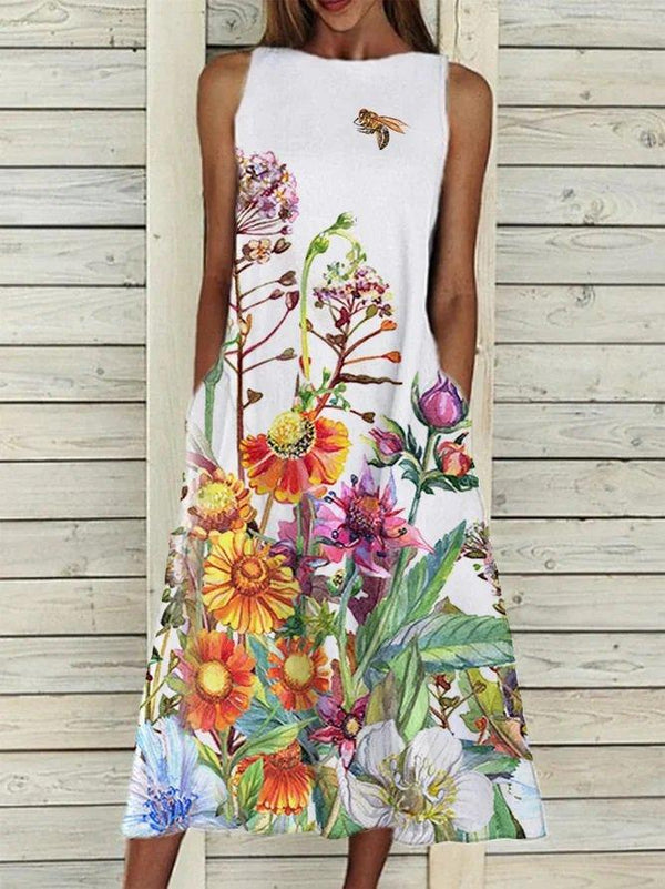 Casual Print Round Neck Sleeveless Dress