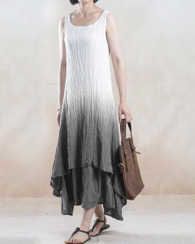 Summer Sleeveless Round Neck Casual Cotton-Blend Dresses