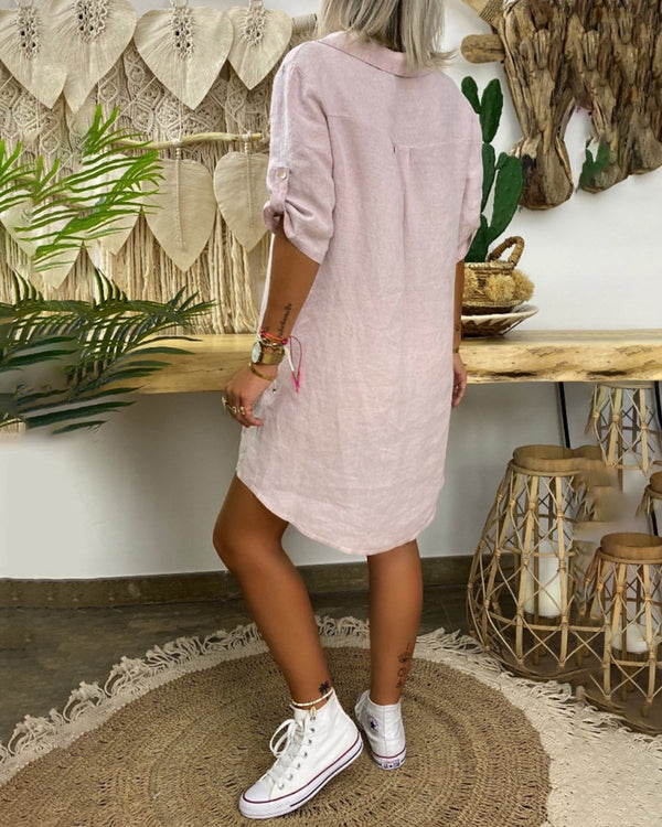 Casual middle sleeve cotton linen shirt mini dress