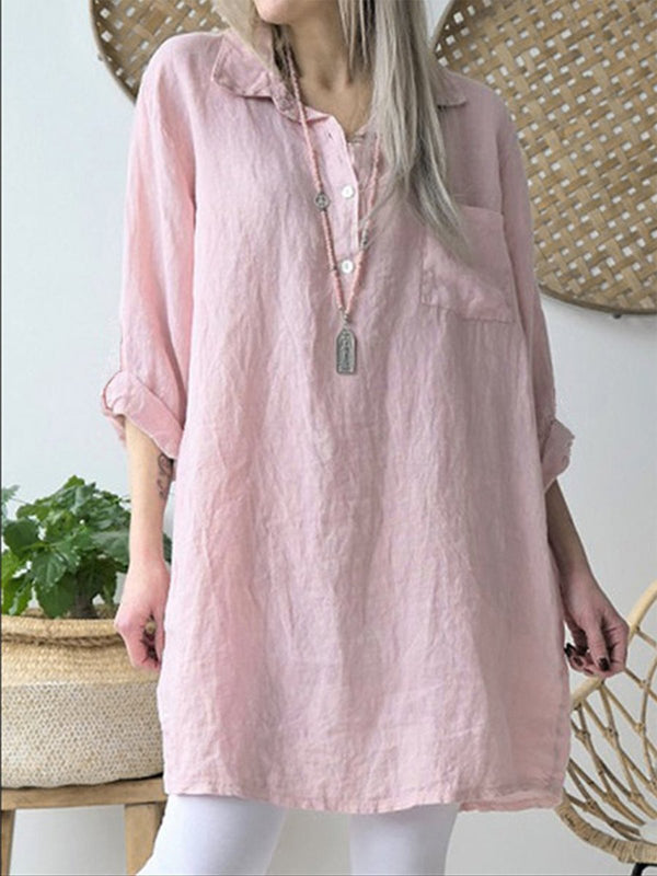 Long Sleeve Solid Linen/Cotton Long Shirt