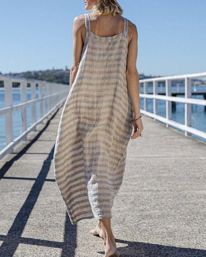 Vintage Casual Striped Printed Linen Maxi Dress