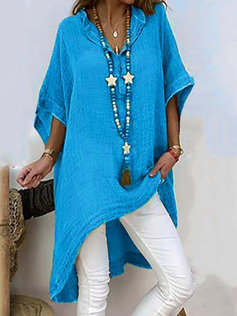 Shirt Collar Half Sleeve Irregular Top