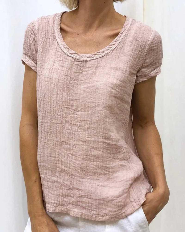 Casual Solid Linen Short Sleeve T-shirt