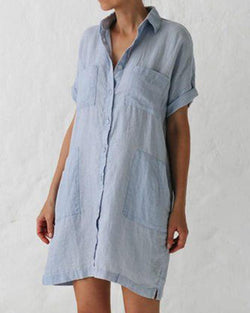 Casual Solid Button Pocket Shirt Collar Dress