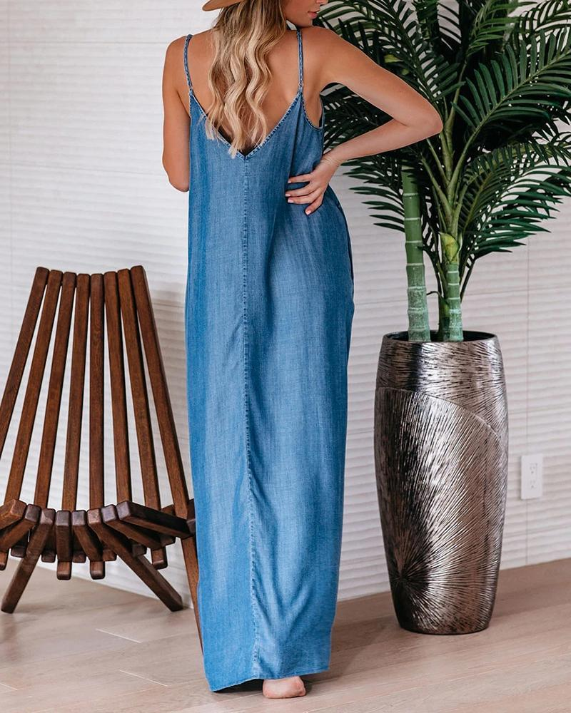 Casual Loose Denim Sling Dress
