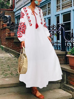 Women Long Sleeve O-neck Printed Maxi Dresses