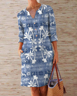 Casual Printed V-neck Midi Dress