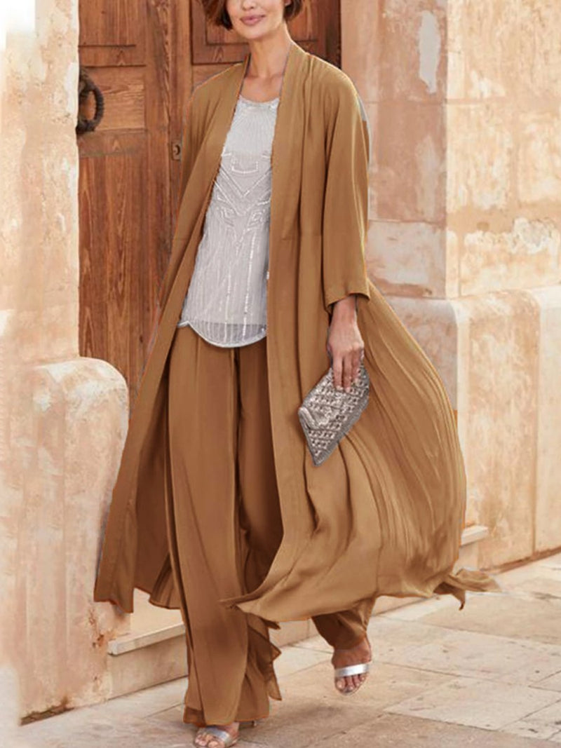 Chiffon Wide Loose Shirt Two-Piece Women's Suit