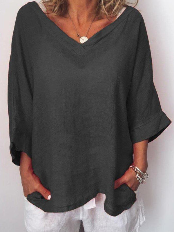 V Neck Half Sleeve Shirts & Tops