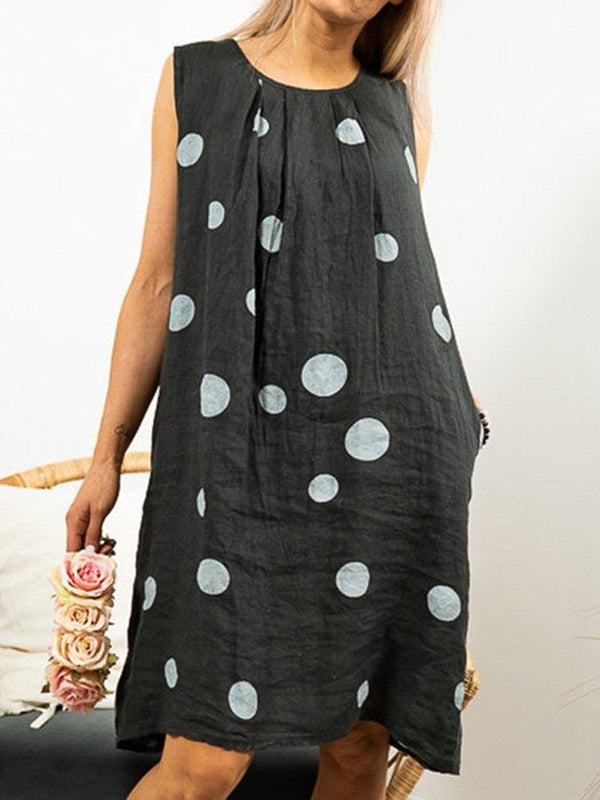 Loose Linen Sleeveless Round Neck Casual Polka Dots Dresses With Pockets
