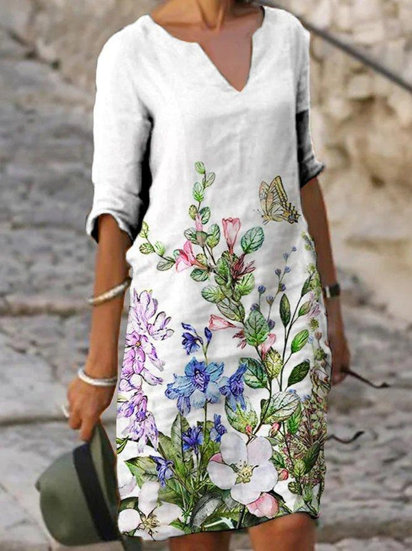 White Half Sleeve Casual Floral Dress