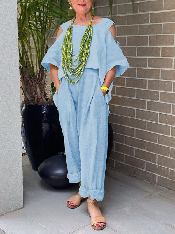 Fashionable Simple Casual Loose Top Pants Suit