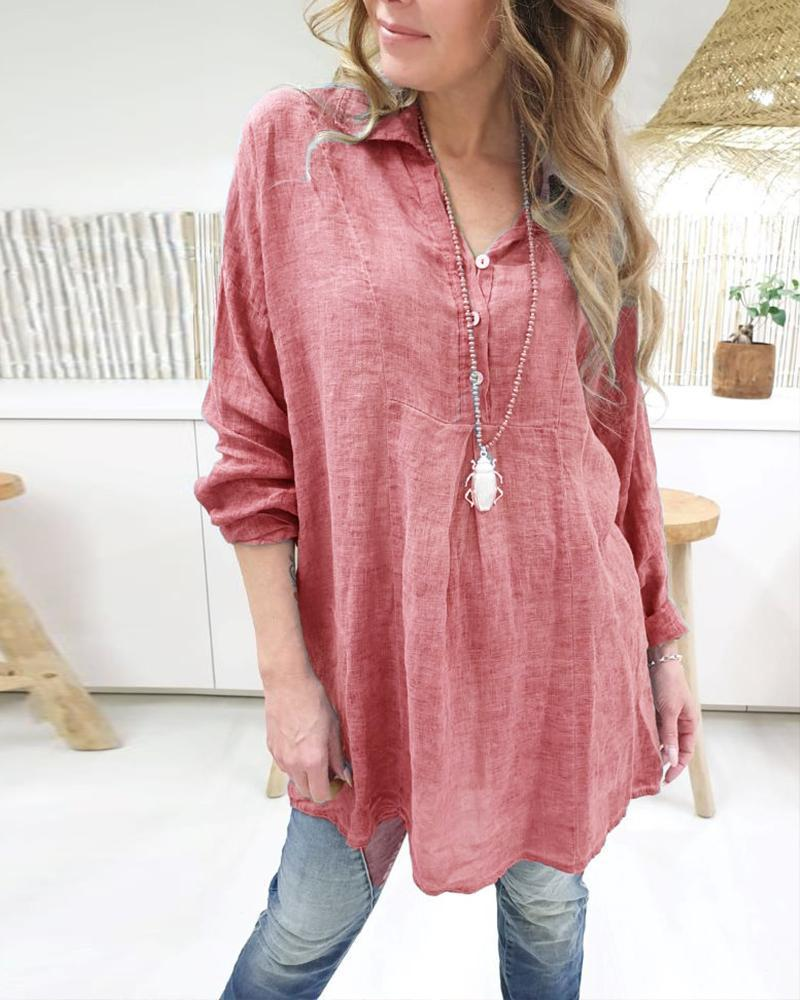 Solid Long Sleeve Cotton Rayon Top