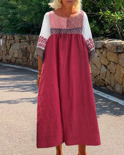 Solid color linen straight dress