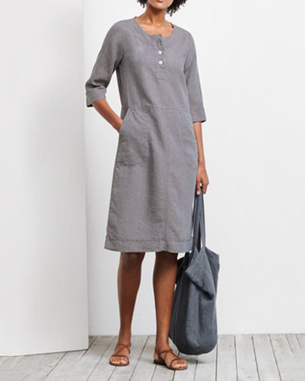 Holiday Linen Women Pocket Dress
