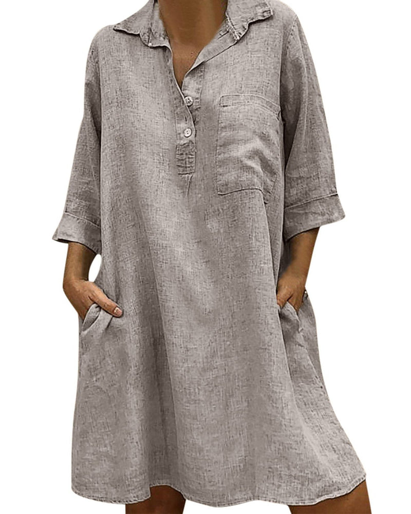 Gray Solid Casual Cotton Dress
