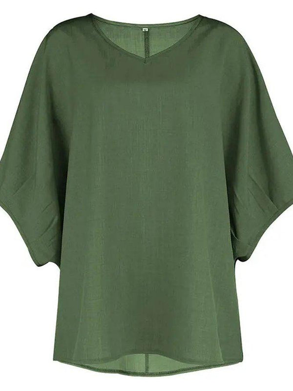 Round Neck Solid Casual Cotton-Blend Shirts & Tops