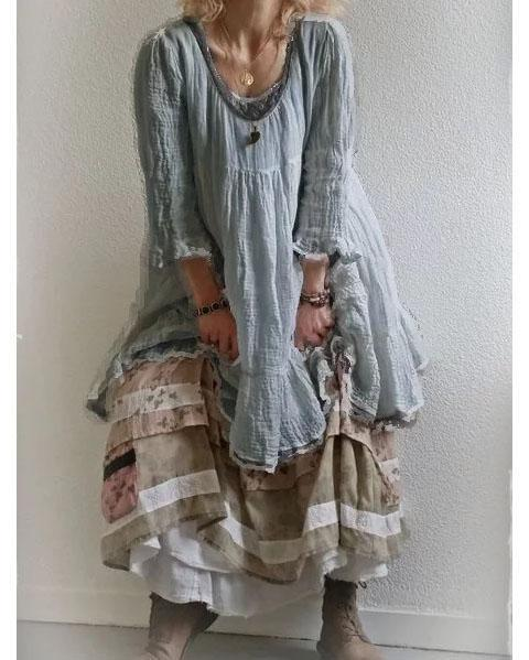 Round neck cotton and linen vacation vest dress