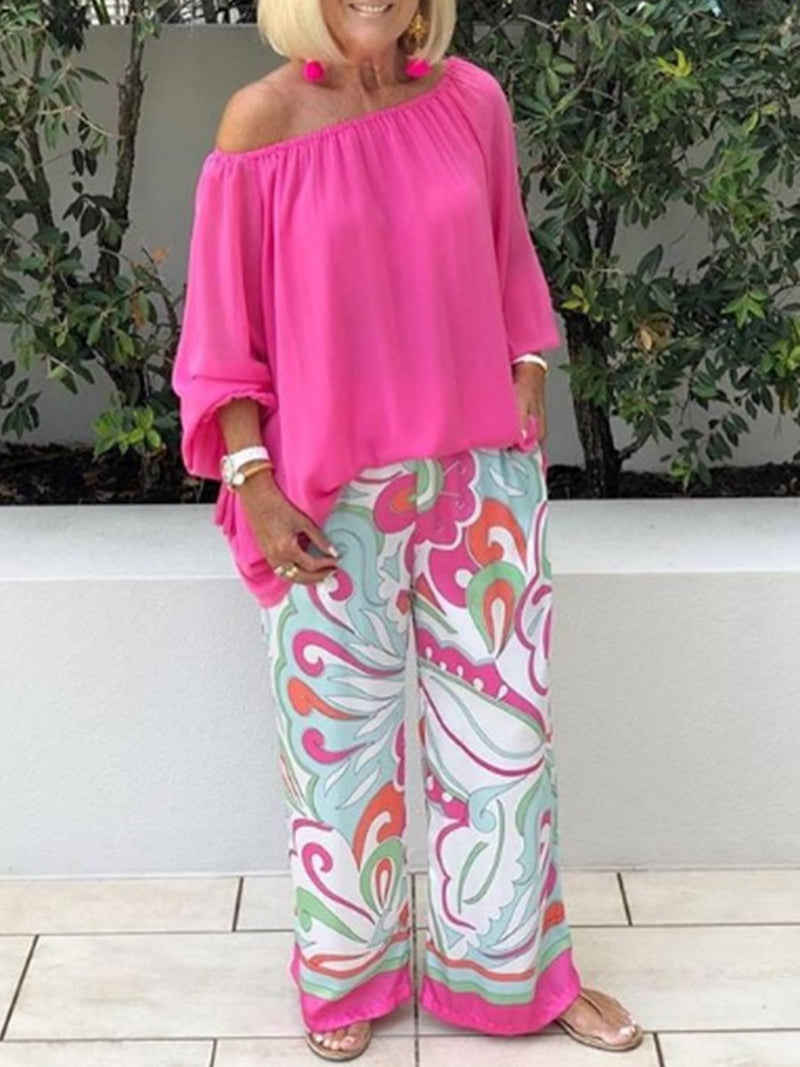 Strapless Printed Loose Holiday Women's Suit