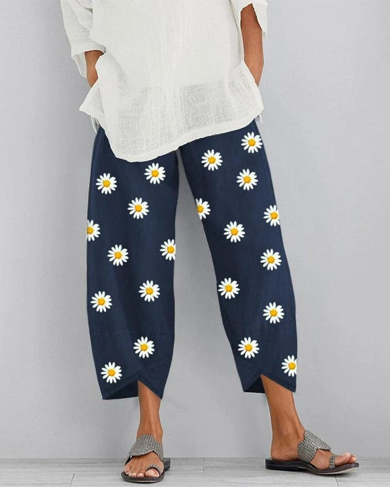 Casual Floral Linen Straight Pants