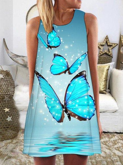 Retro Casual Dress Sleeveless Bohemian Floral Butterfly Print Round Neck Plus Size