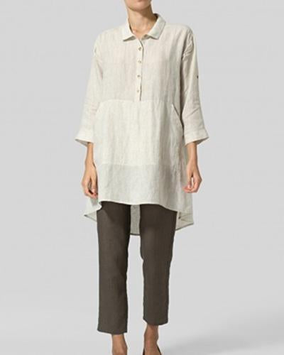 Casual Buttoned Linen Woman Tops