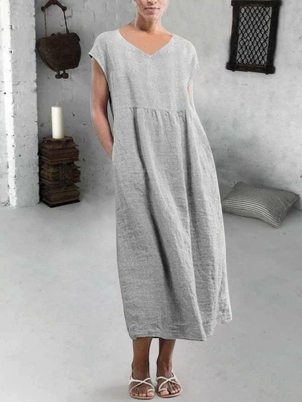 Line Gray High-rise Casual V Neck Pockets Dresses