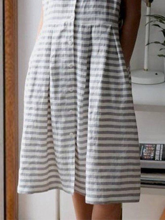 Gray Stripes Short Sleeve A-Line Dresses