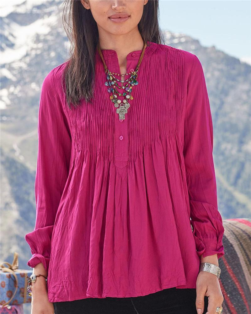 Button Wrinkle Long Sleeve Tunic