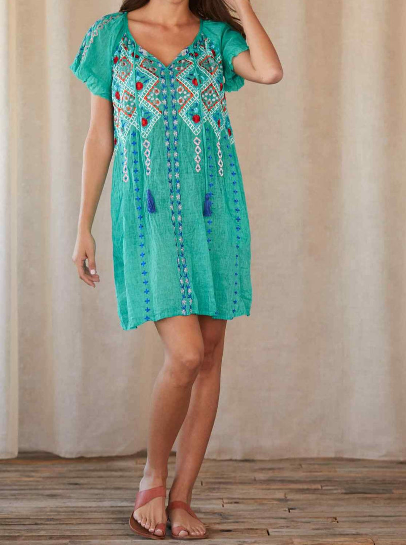 Embroidered Cotton Rayon Short Sleeve Dress