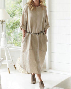 Casual  Women Half Sleeve Linen Dress