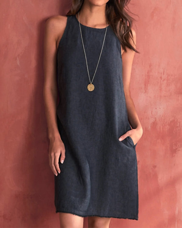 Casual Sleevless Woman Linen Dresses