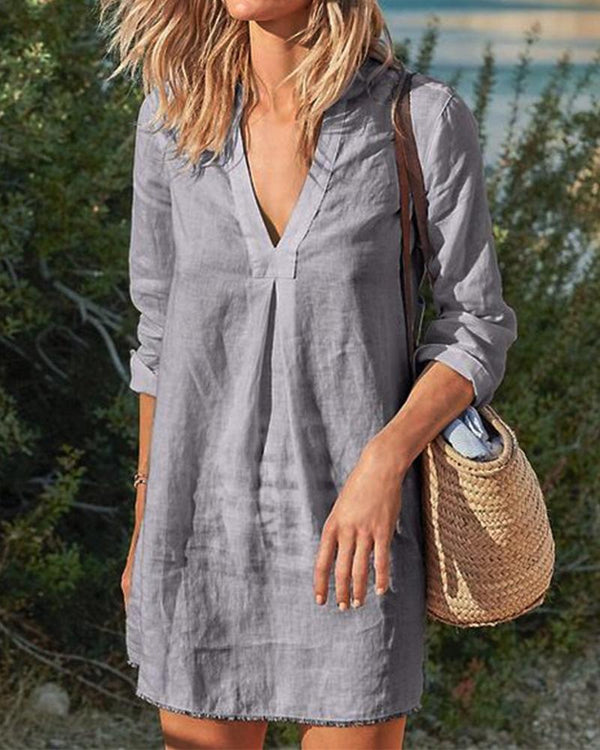 Vintage Casual V Neck Solid Linen Dresses