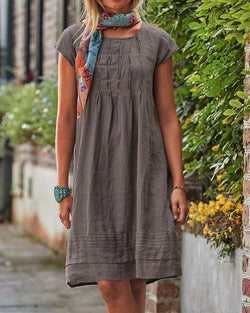 Vintage Casual Solid Linen Woman Dresses