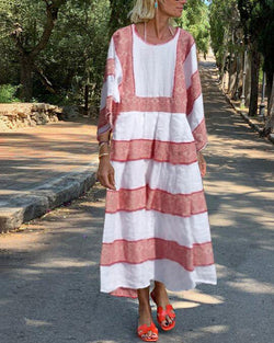 Striped cotton and linen long dress