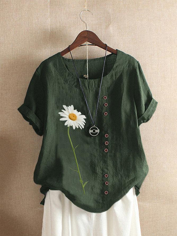 Daisy Flowers Short-Sleeved Round Neck T-Shirt For Women