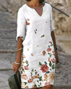 Casual Floral Tunic V-Neckline A-line Dress