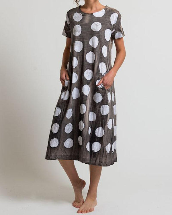 Casual Printed Short Sleeve Polka Dots T-shirt Dress