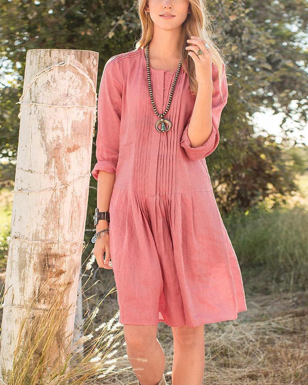 Wrinkle Long Sleeve Button Knee-Length Dress