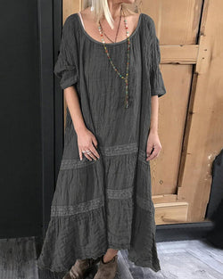 Short-Sleeved Round Neck Loose Cotton Linen Casual Dress