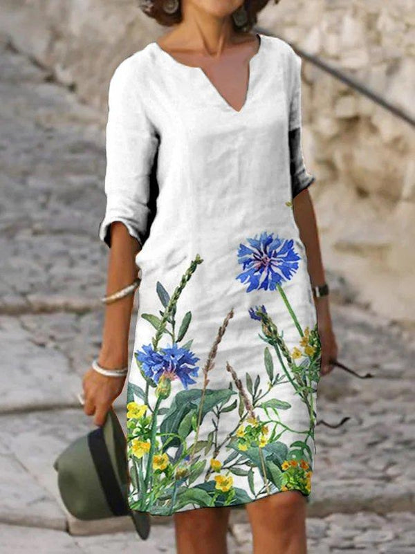 White Floral V Neck Casual Dress