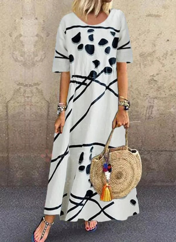 Casual Color Block Round Neckline Maxi Shift Dress