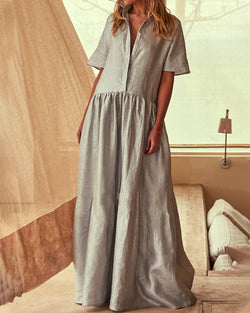 Vintage Casual Solid Buttoned Linen Maxi Dresses