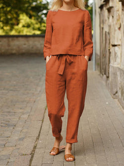 Autumn Solid Color Top and Tie Trousers Suit