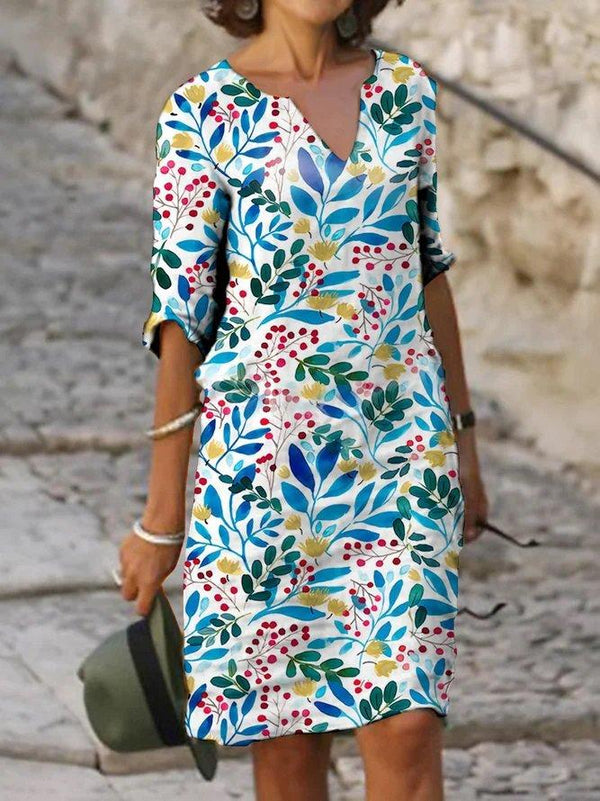 Casual Print Half Sleeve Dress