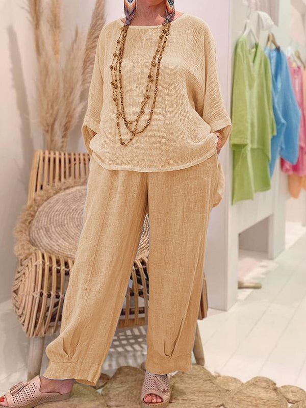 Simple Long Sleeve Top Pocket Trouser Suit for Women