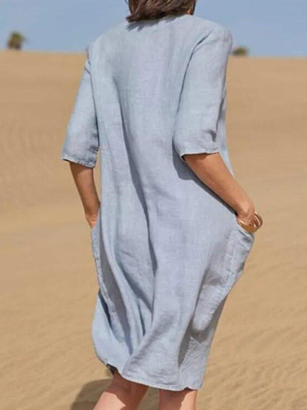 Blue Straight Vacation Scoop Neck Linen Dress