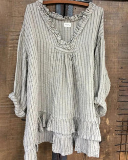 Vintage V Neck Striped Printed Linen Tops